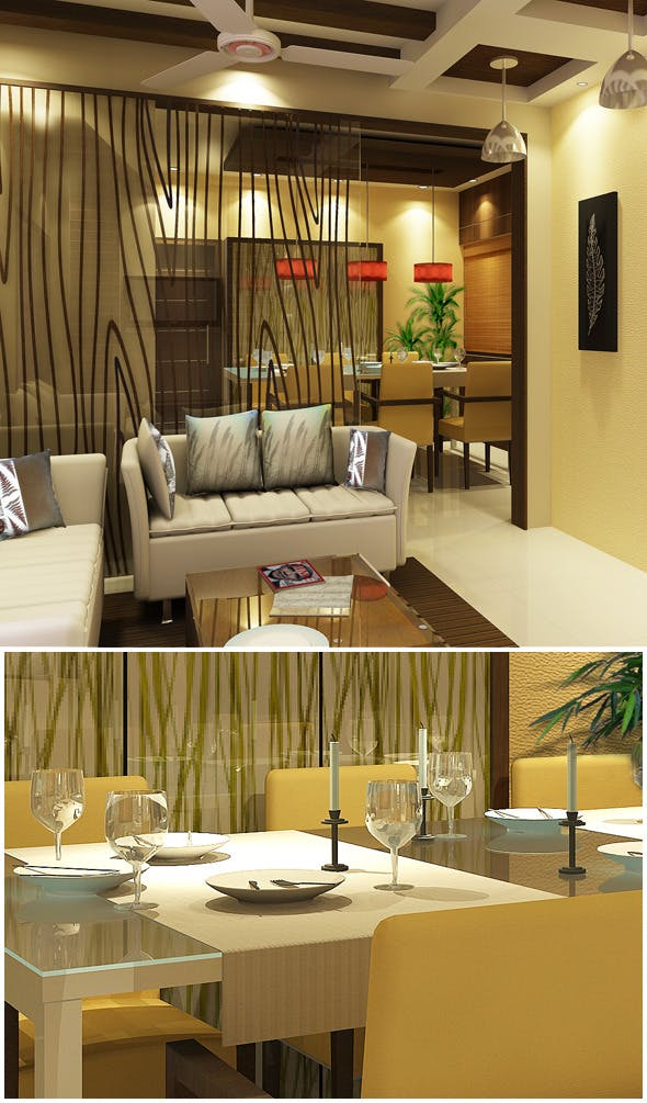 Realistic Living With  Dining Room - 3DOcean Item for Sale