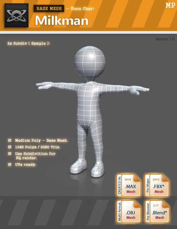 Base Mesh (MP) - Toon Char: Milkman - 3DOcean Item for Sale