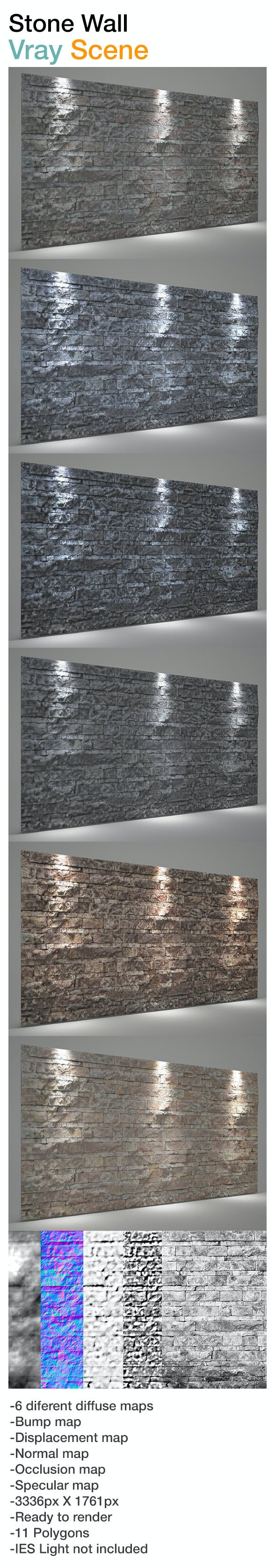 Wall stone background Vray scene - 3DOcean Item for Sale