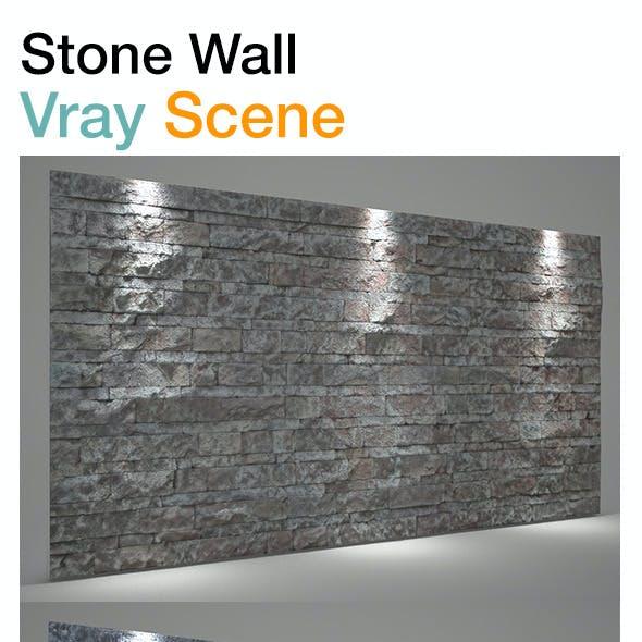 Wall stone background Vray scene