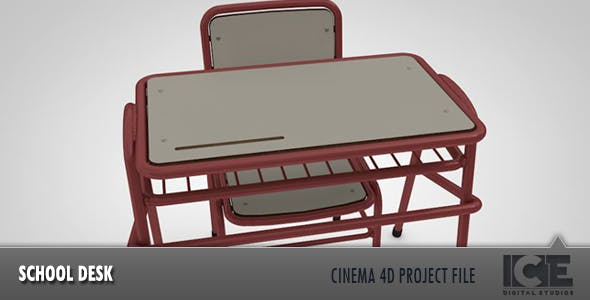 School Desk & Chair - 3DOcean Item for Sale