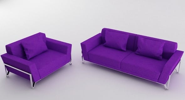 Vogue 3 PC Purple Microfiber Sofa Set - 3DOcean Item for Sale