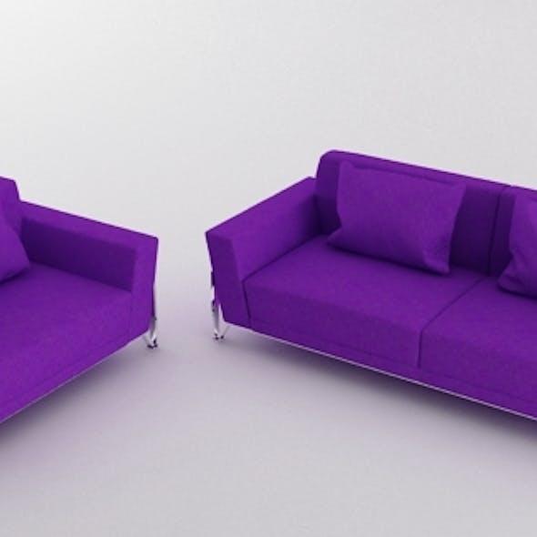Vogue 3 PC Purple Microfiber Sofa Set