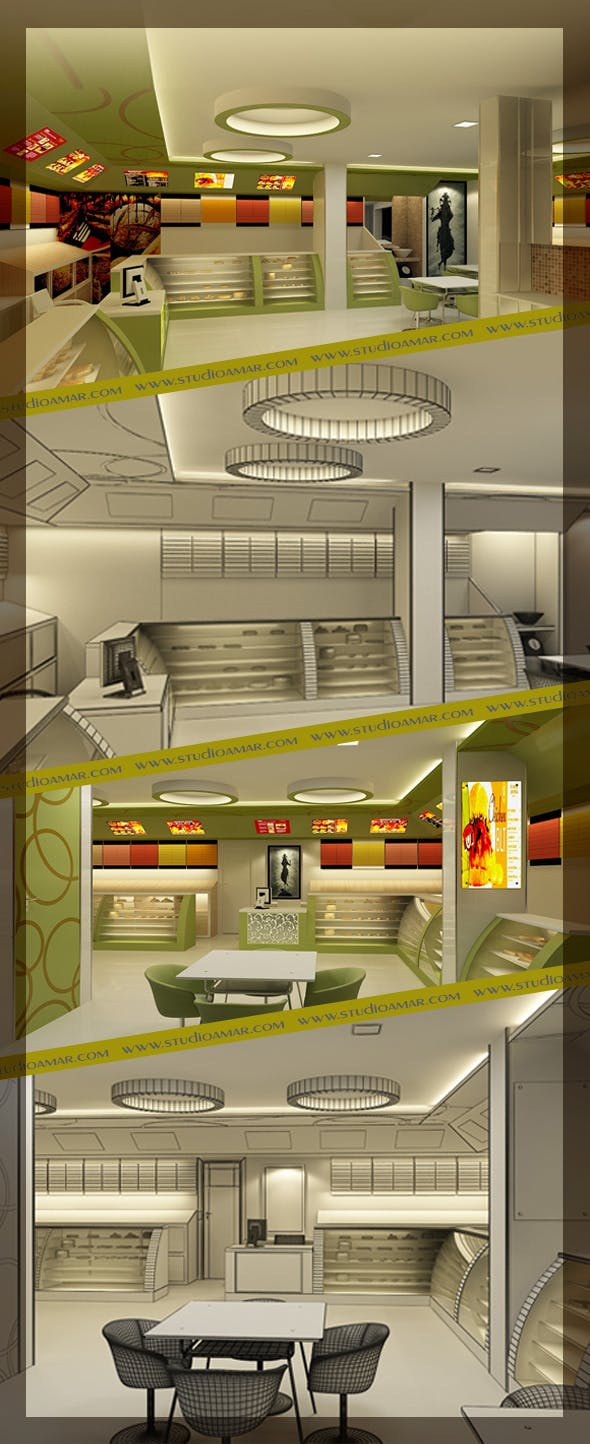 Realistic Bakery Shop Interior 126 - 3DOcean Item for Sale