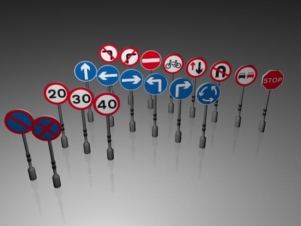 Traffic Signs (Circular and Octagon)(Low Poly) - 3DOcean Item for Sale