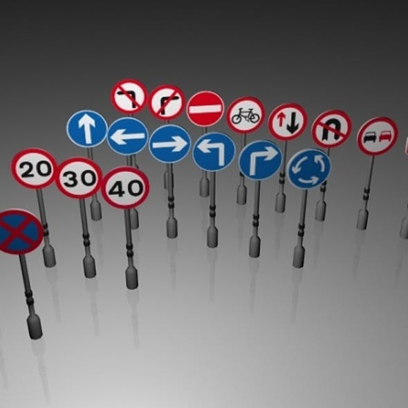 Traffic Signs (Circular and Octagon)(Low Poly)