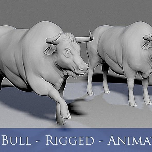 3D Bull - Rigged - Animated
