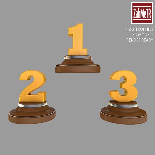 Trophies 1 - 2 - 3 Numbers 3d Model