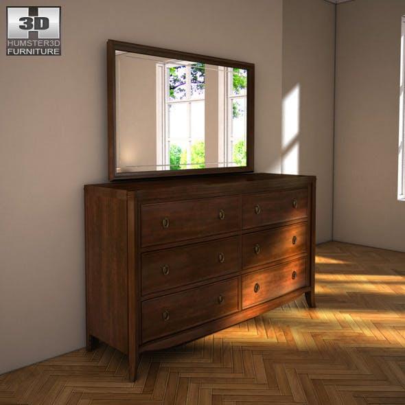 Ashley Ashlyn Dresser & Mirror - 3D model. - 3DOcean Item for Sale