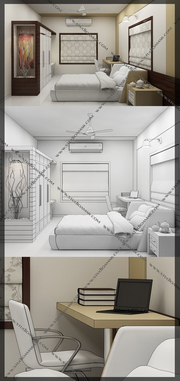 Realistic Bed Room 127 - 3DOcean Item for Sale