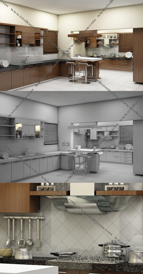 Realistic Kitchen interior 128 - 3DOcean Item for Sale