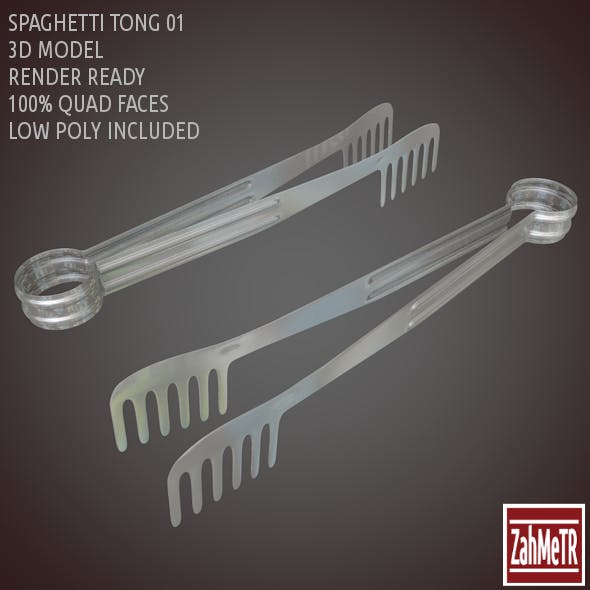 Spaghetti Tong 3D Model Low - High Poly