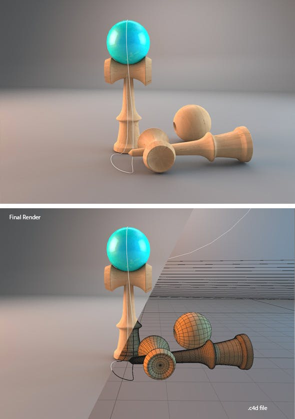 Realistic 3D Kendama - 3DOcean Item for Sale