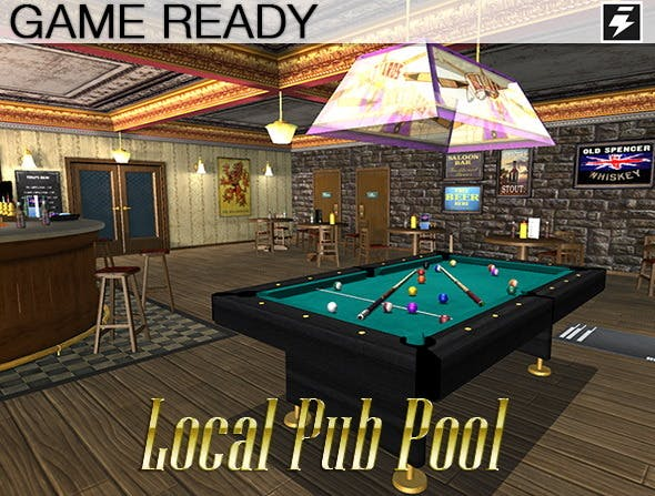 Game Ready Local Pub - Pool Room - 3DOcean Item for Sale