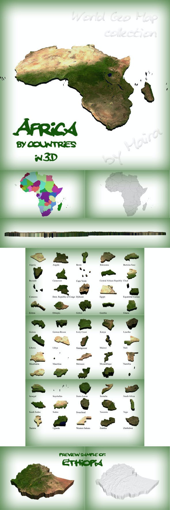 World Geo Map - Africa - 3DOcean Item for Sale