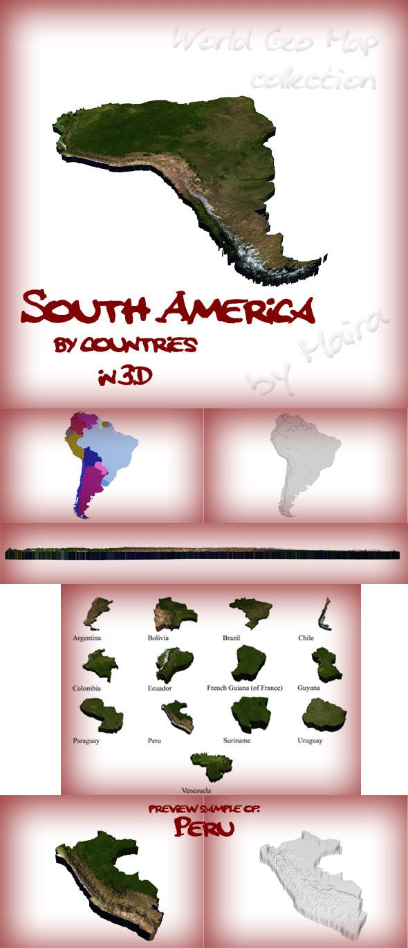 World Geo Map - South America - 3DOcean Item for Sale