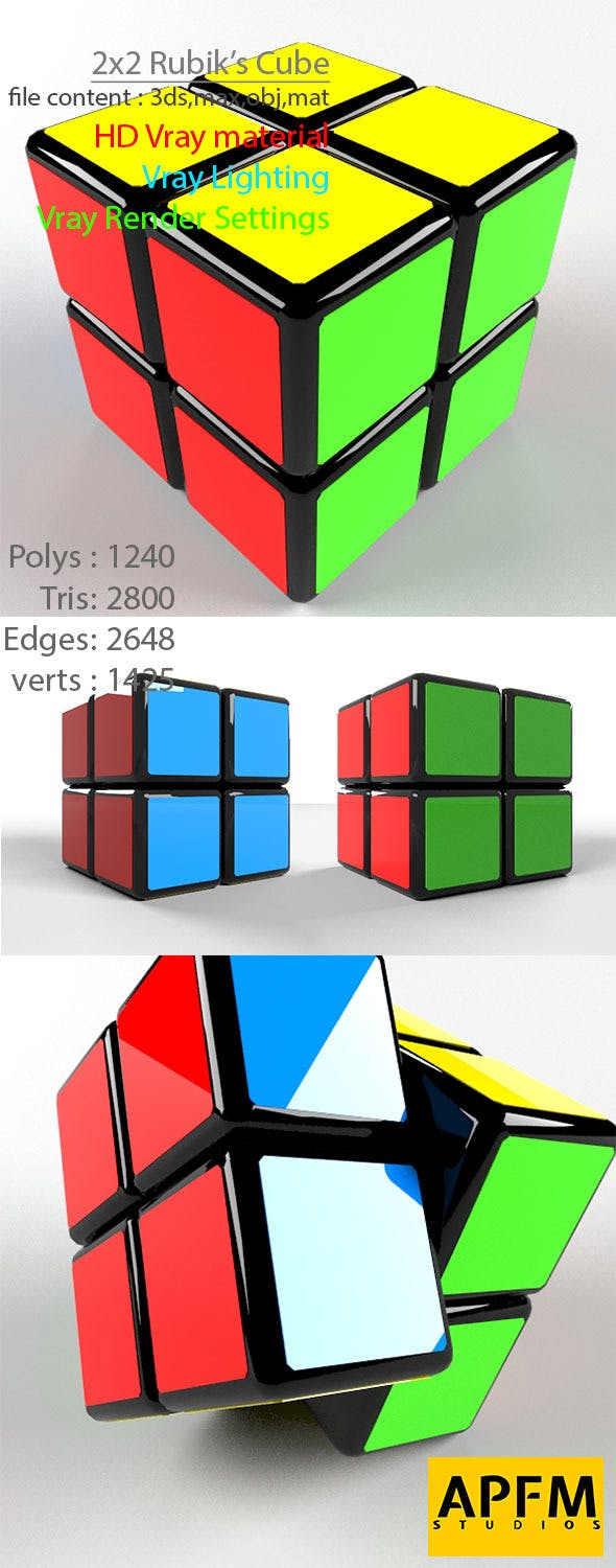 3D High Quality 2x2 Rubik's Cube Model - 3DOcean Item for Sale