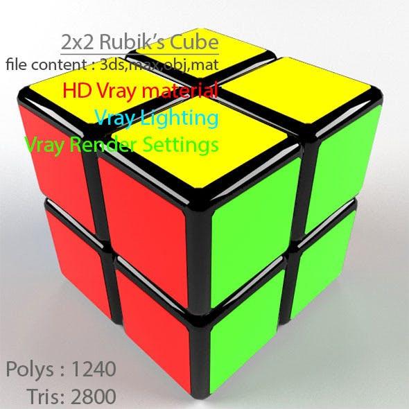 3D High Quality 2x2 Rubik's Cube Model