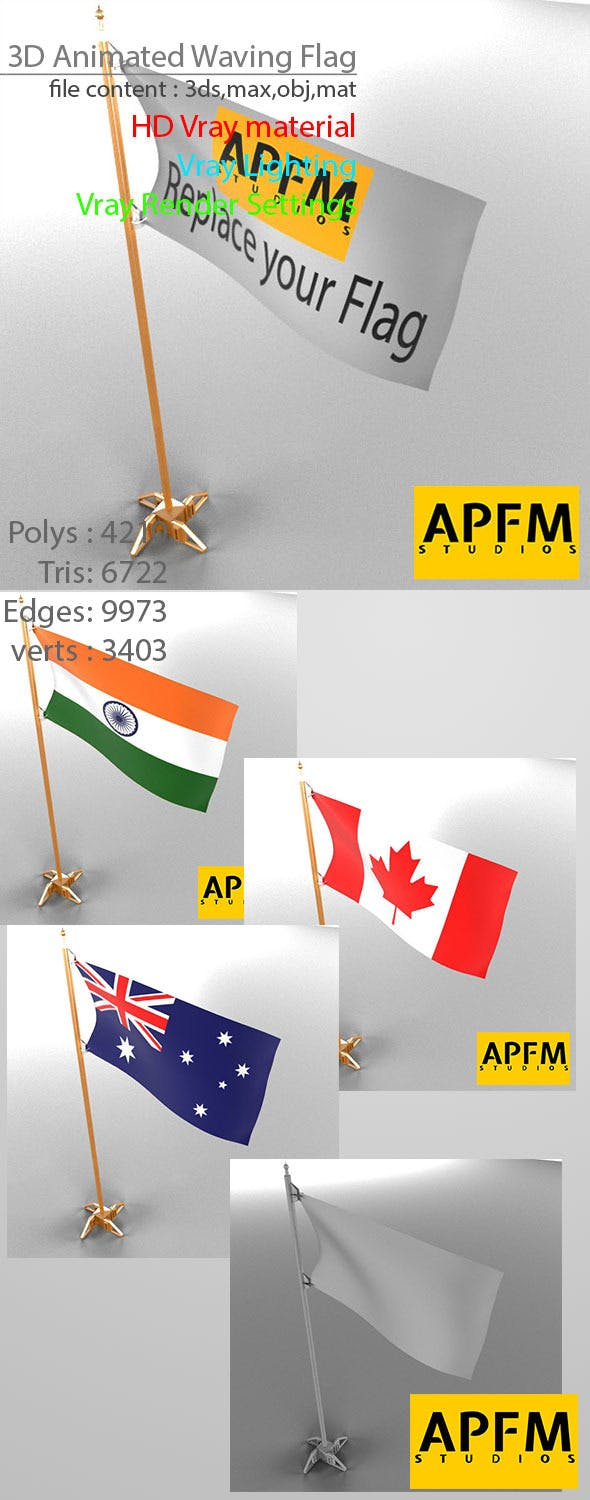 3D Animated Waving Flag - 3DOcean Item for Sale