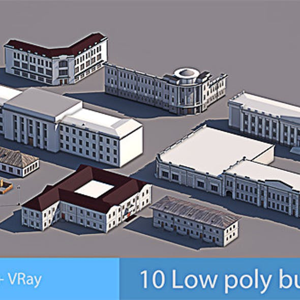 10 Low Poly Buildings