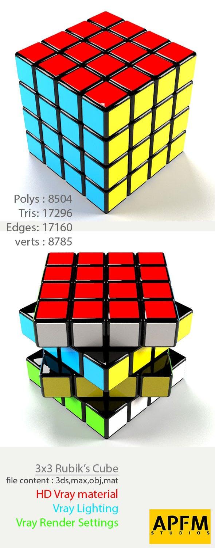 3D High Quality 4x4 Rubik's Cube Model - 3DOcean Item for Sale