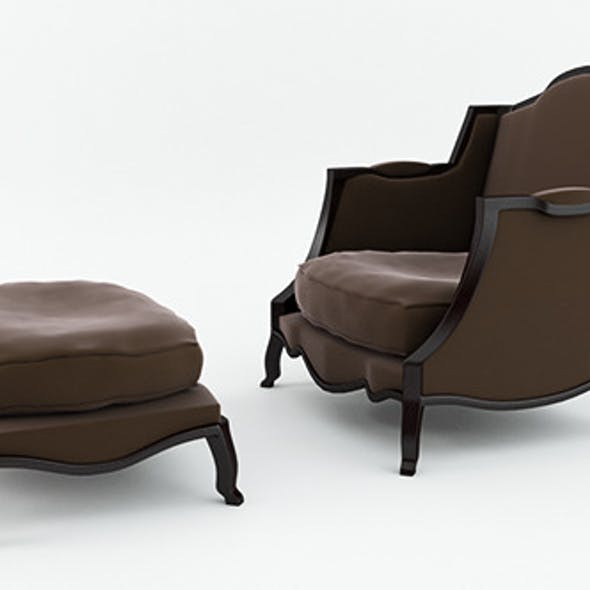 Classic Armchair and Footstool