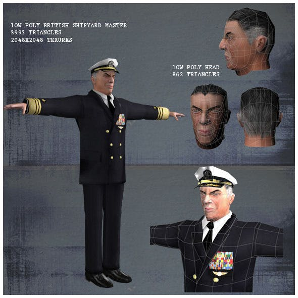 Low Poly British Shipyard Master 3D Model - 3DOcean Item for Sale