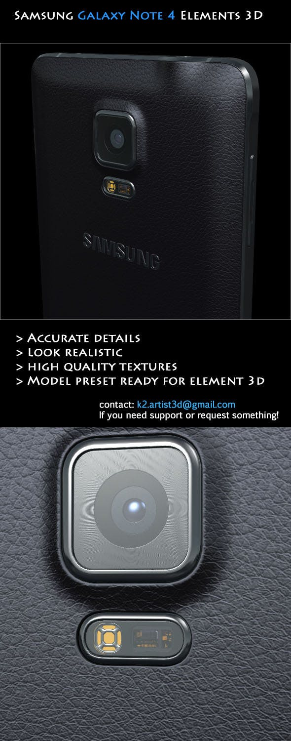 Samsung Galaxy Note 4 Black - Element 3D - 3DOcean Item for Sale