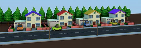 Low Poly Village - 3DOcean Item for Sale