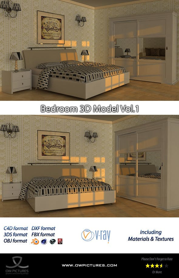 Bedroom 3D Model - 3DOcean Item for Sale