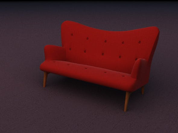 Contemporary design two seat red velvet sofa - 3DOcean Item for Sale