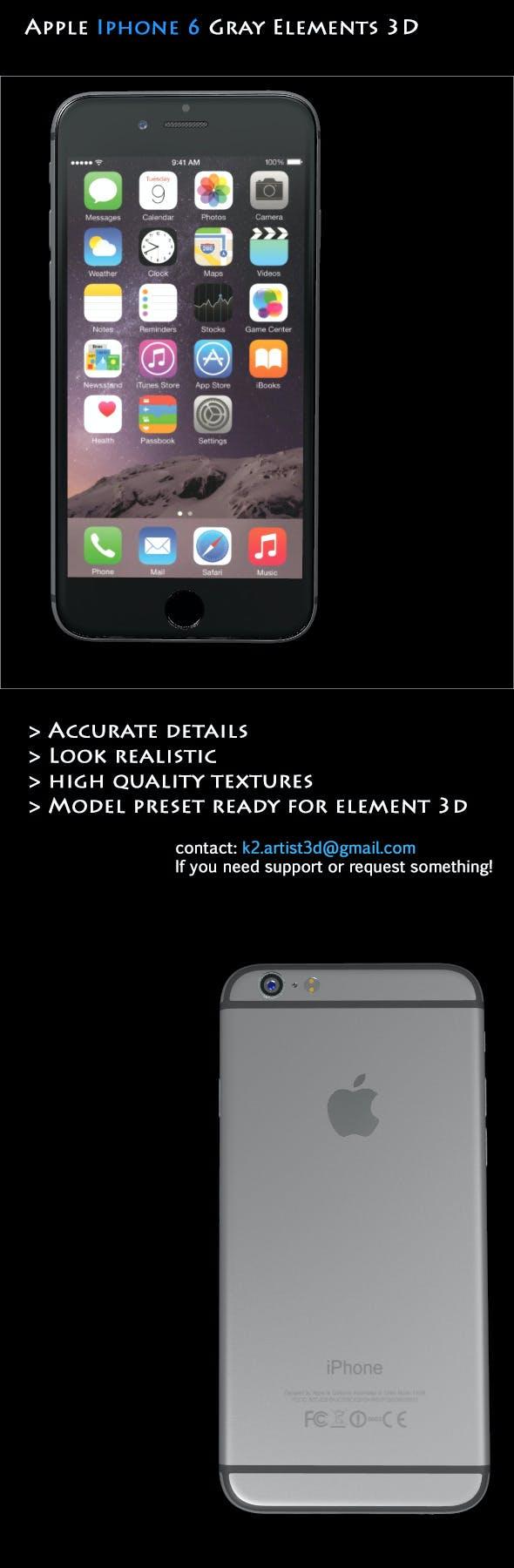 Element3D - Apple Iphone 6 Gray - 3DOcean Item for Sale