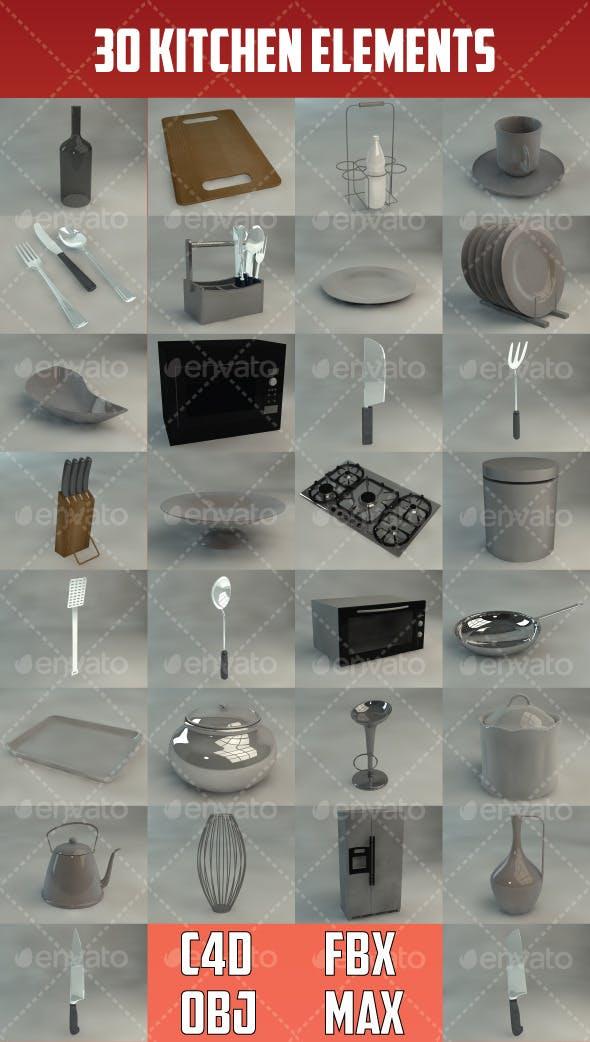 30 Kitchen Elements - 3DOcean Item for Sale