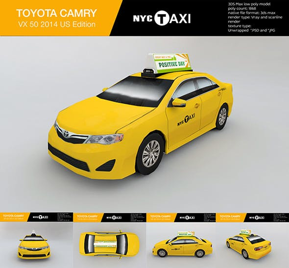 New York City taxi Toyota camry 2013 - 3DOcean Item for Sale