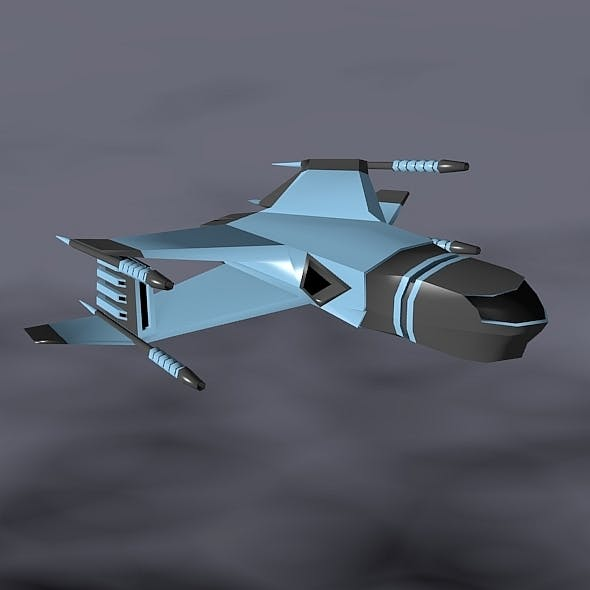 Lowpoly space attacker concept