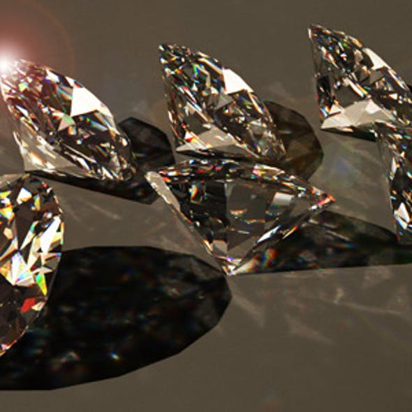 3D model of diamonds for 3D max. High quality!