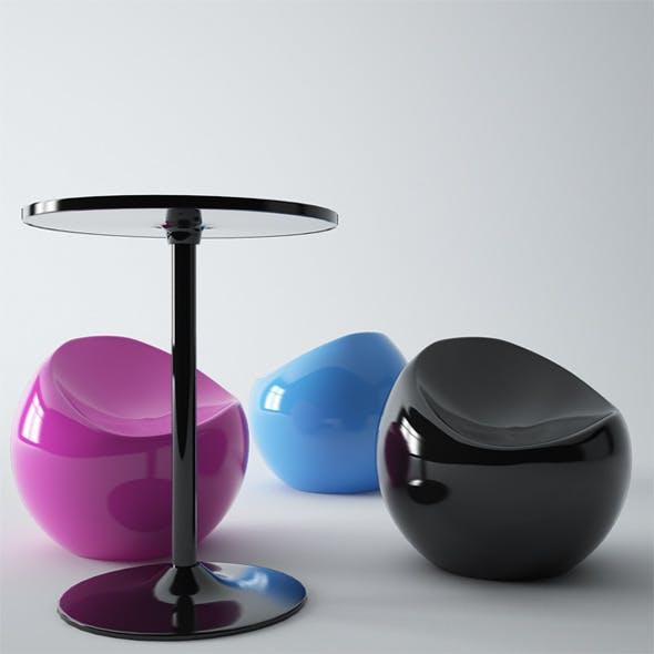 XLBoom Table Medium Ball Chair Copper - 3DOcean Item for Sale