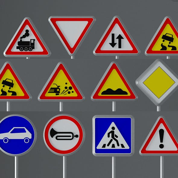 Road Signs - 3DOcean Item for Sale