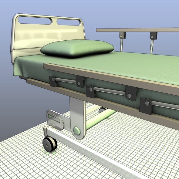 Hospital Bed with Rails - 3DOcean Item for Sale