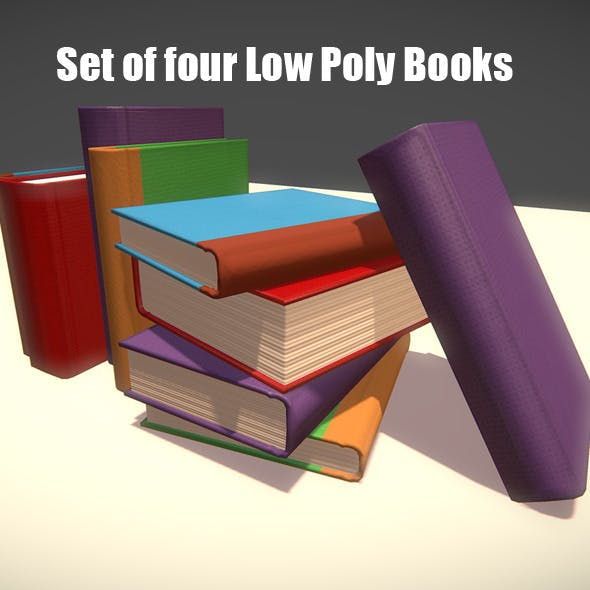 Set of Four Low Poly Books