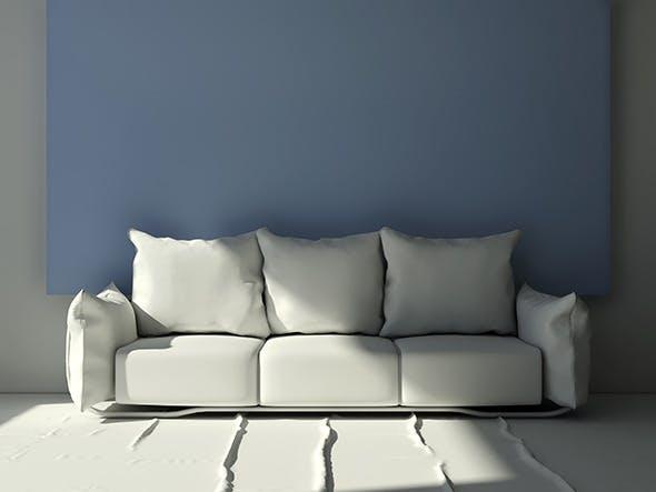 Modern three seat pillow sofa - 3DOcean Item for Sale