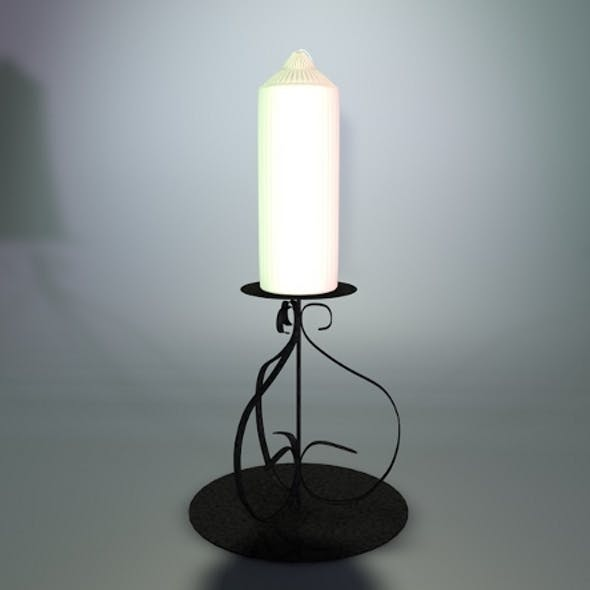 Realistic detailed candle stick and stand.