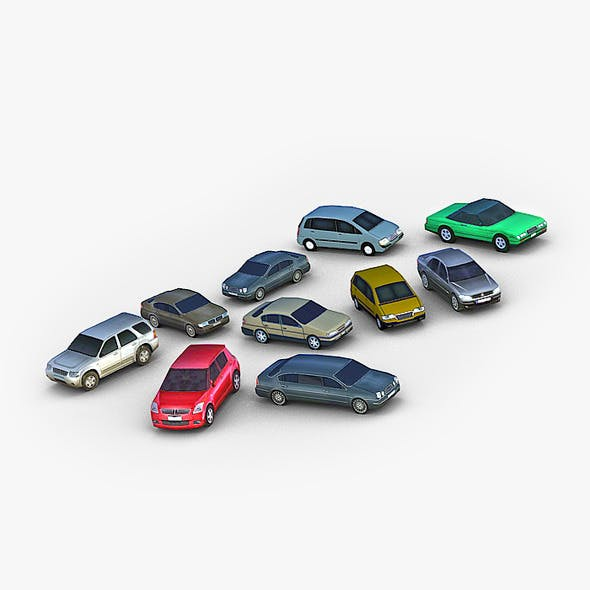 10 Low Poly City Cars Pack - 3DOcean Item for Sale