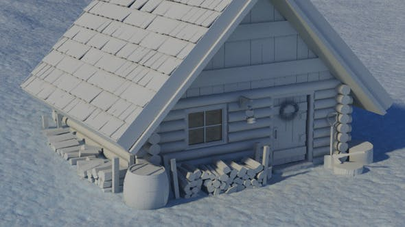 Log Cabin in the Snow - 3DOcean Item for Sale