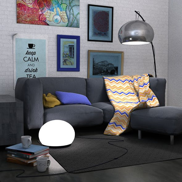 Living room scene set - 3DOcean Item for Sale