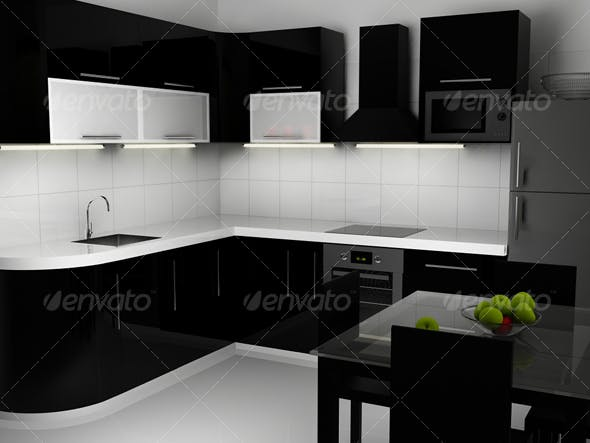 Black and white kitchen interior - 3DOcean Item for Sale
