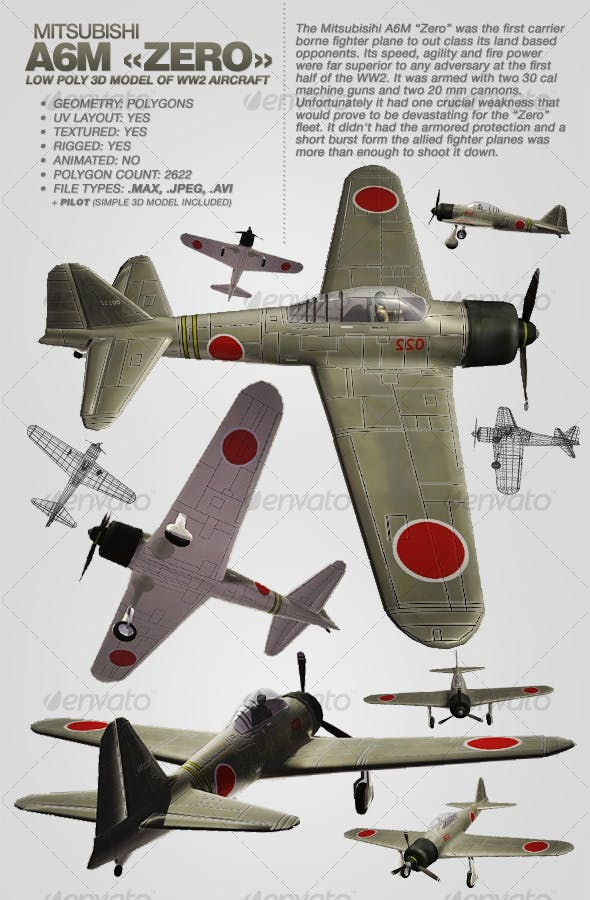 Mitsubisihi A6M ZERO rigged 3Ds aircraft - 3DOcean Item for Sale