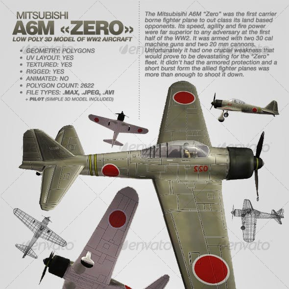 Mitsubisihi A6M ZERO rigged 3Ds aircraft