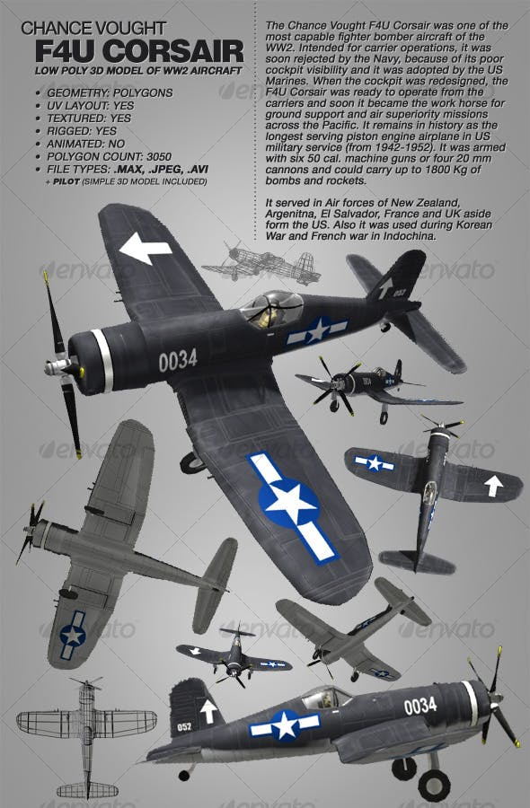 Chance Vought F4U Corsair rigged 3Ds WW2 aircraft - 3DOcean Item for Sale