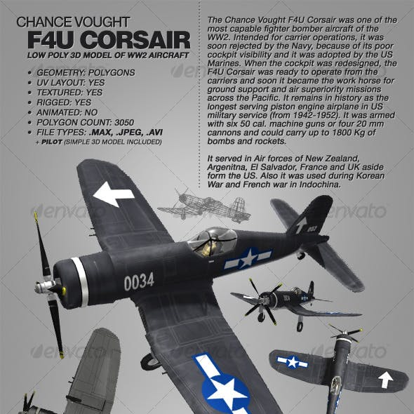 Chance Vought F4U Corsair rigged 3Ds WW2 aircraft